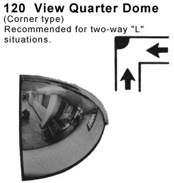 Quarter Dome Mirrors For Hallways To See Around Corners