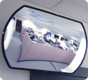 Office mounted roundtangular with black trim mirror